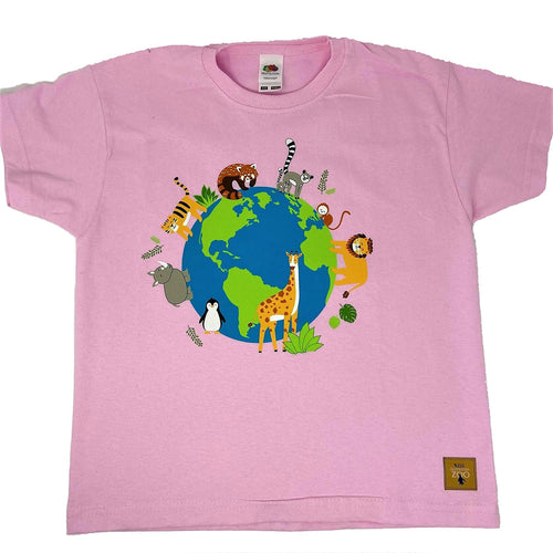 Child's Animals Around the World T-shirt - Pink