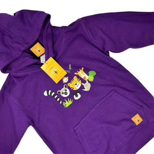 Child's Animal Faces Hoodie - Purple