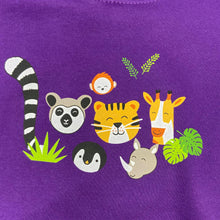 Load image into Gallery viewer, Child's Animal Faces Hoodie - Purple
