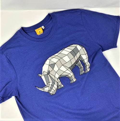 Men's Rhino Origami Design T-shirt - Metro Blue