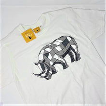 Load image into Gallery viewer, Men's Rhino Origami Design T-shirt - White