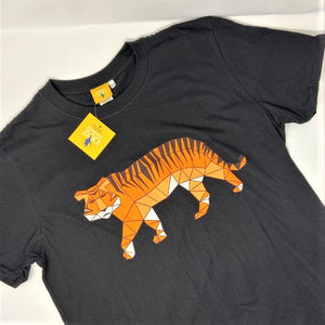 Men's Tiger Origami Design T-shirt - Black