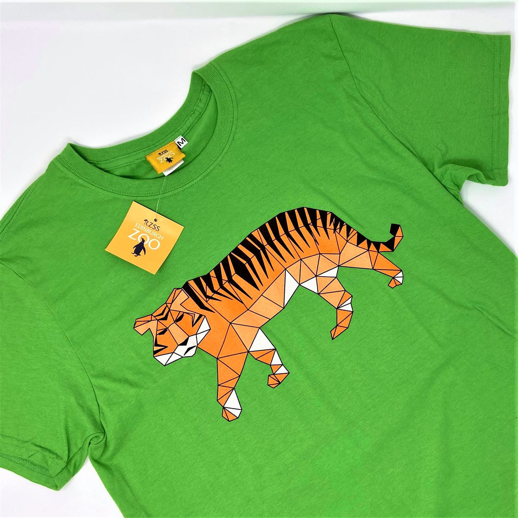Men's Tiger Origami Design T-shirt - Green