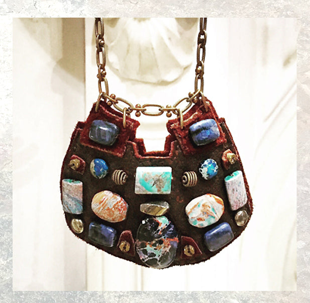 SHIELD NECKLACE : African Turquoise, Jasper & Lapis on Chocolate Deerskin Leather