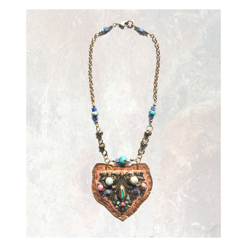 SHIELD PENDANT : Antique Brass, Turquoise & Rhodonite on Desert Rose Leather