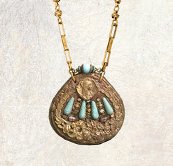 SHIELD PENDANT : Vintage Brass Buckle w/ Grecian Floral Design & Oxidized Green Brass