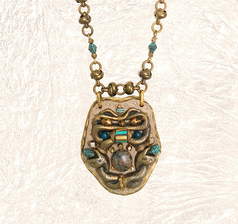 SHIELD PENDANT : Brass Serpent, Turquoise & Apatite on Taupe and Metallic Leather