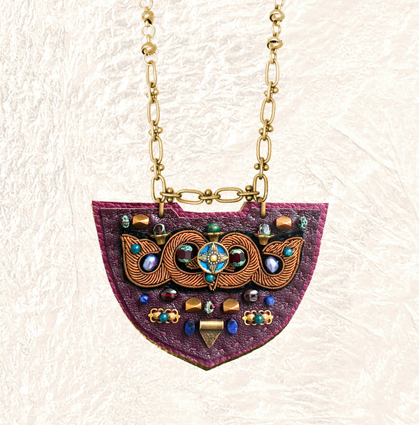 SHIELD NECKLACE : Bronze Metallic Zardozi Embroidery on Burgundy Leather