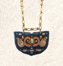 SHIELD NECKLACE : Bronze Metallic Zardozi Embroidery on Navy Leather