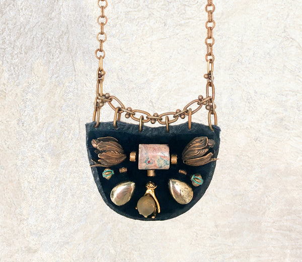 PETITE SHIELD NECKLACE : Turquoise, Pyrtie and Brass Tulips on Navy Leather & Fur