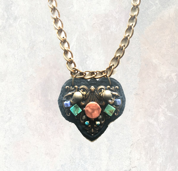 SHIELD PENDANT : Turquoise & Rhodonite on Black Leather