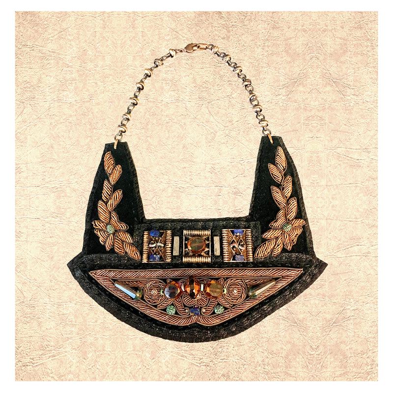 GILDED BREASTPLATE : Zardozi Embroidery on Black Leather