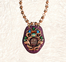 SHIELD PENDANT : Brass Serpent, Turquoise, Malachite & Tiger Eye on Burgundy Leather