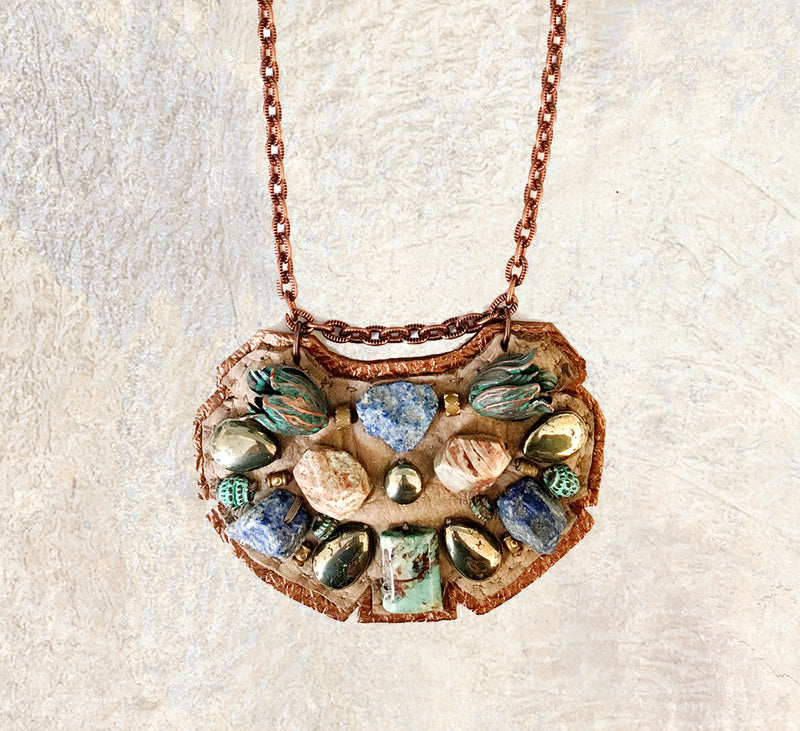 PETITE SHIELD NECKLACE : Turquoise, Raw Agate & Green Tulips on Taupe / Rose Gold Leather