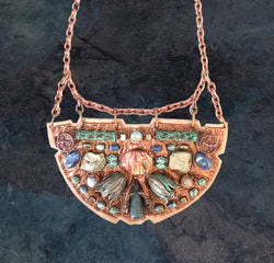 SHIELD NECKLACE : Green Brass Tulips, Jasper & Sodalite on Rose Gold Leather