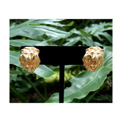 EARRINGS : Goldtone Lion's Head