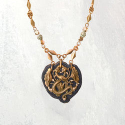 SHIELD PENDANT : Antique Brass Floral Serpent on Dusty Lilac Suede