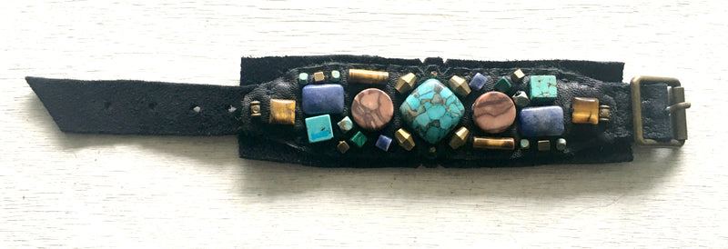 Embellished Cuff : Turquoise & Tiger Eye on Black Leather
