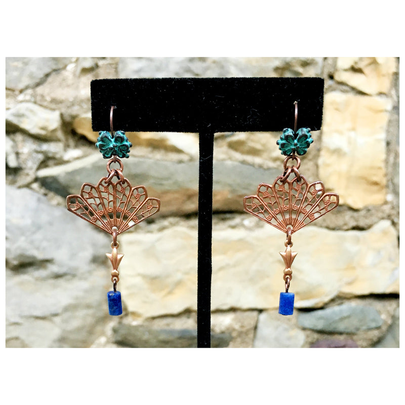 EARRINGS : Copper Fan, Oxidized Green Brass & Purple Sodalite