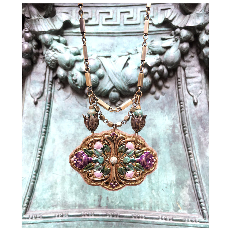 2D SHIELD NECKLACE : Garden of Eden Collection in Taupe Leather & Turquoise
