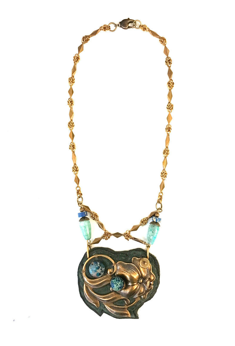 2D SHIELD NECKLACE : Antique Brass Floral Design w/ Lapis & Agate on Olive Leather
