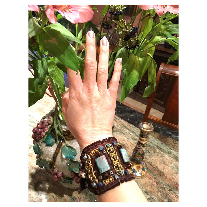 LEATHER CUFF : African Turquoise & Freshwater Pearls on Chocolate Leather