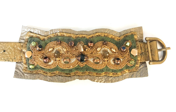 LEATHER CUFF : Gilded Lace on Olive & Metallic Leather