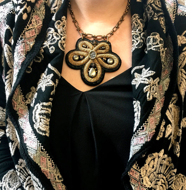 SHIELD NECKLACE : Bronze Zardozi Embroidery on Black Deerskin Leather
