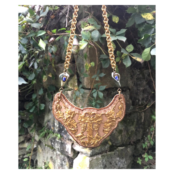 2D SHIELD NECKLACE : Antique Brass Filigree Breastplate on Beige & Rose Gold Leather