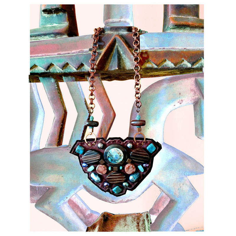 SHIELD NECKLACE : Abalone Inlaid Wood, Freshwater Pearls & Copper Beads on Brown Deerskin Leather