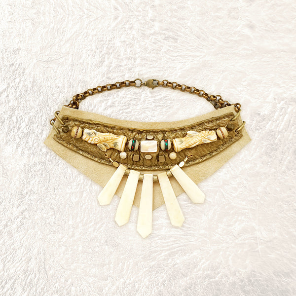 EMBELLISHED COLLAR : Bone, Mother-of-Pearl and Vintage Prayer Beads on Bronze & Ivory Leather