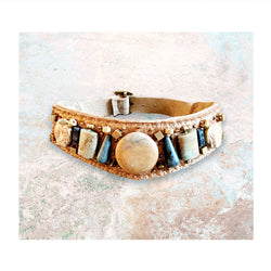 EMBELLISHED COLLAR : African Turquoise, Jasper, Sodalite & Brass Beads on Rose Gold Metallic Leather
