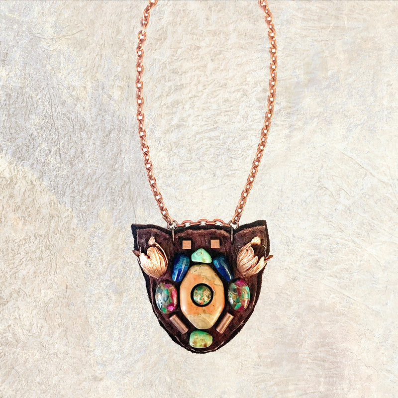 PETITE SHIELD NECKLACE : Rose Gold Tulips, Turquoise, Jasper, Agate & Copper Beads on Brown Leather