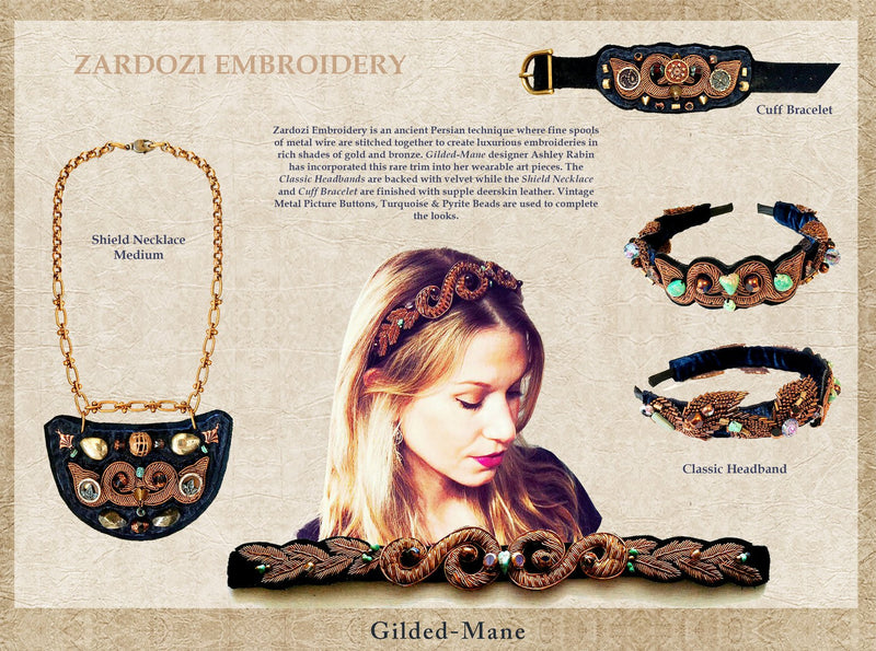 LEATHER CUFF : Metallic Zardozi Embroidery w/ Vintage Picture Buttons & Brass Beads on Black Leather