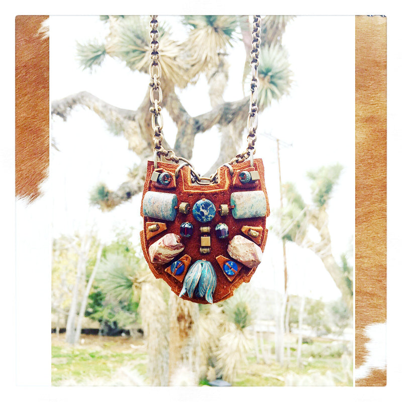PETITE SHIELD NECKLACE : African Turquoise & Lapis on Cognac Suede