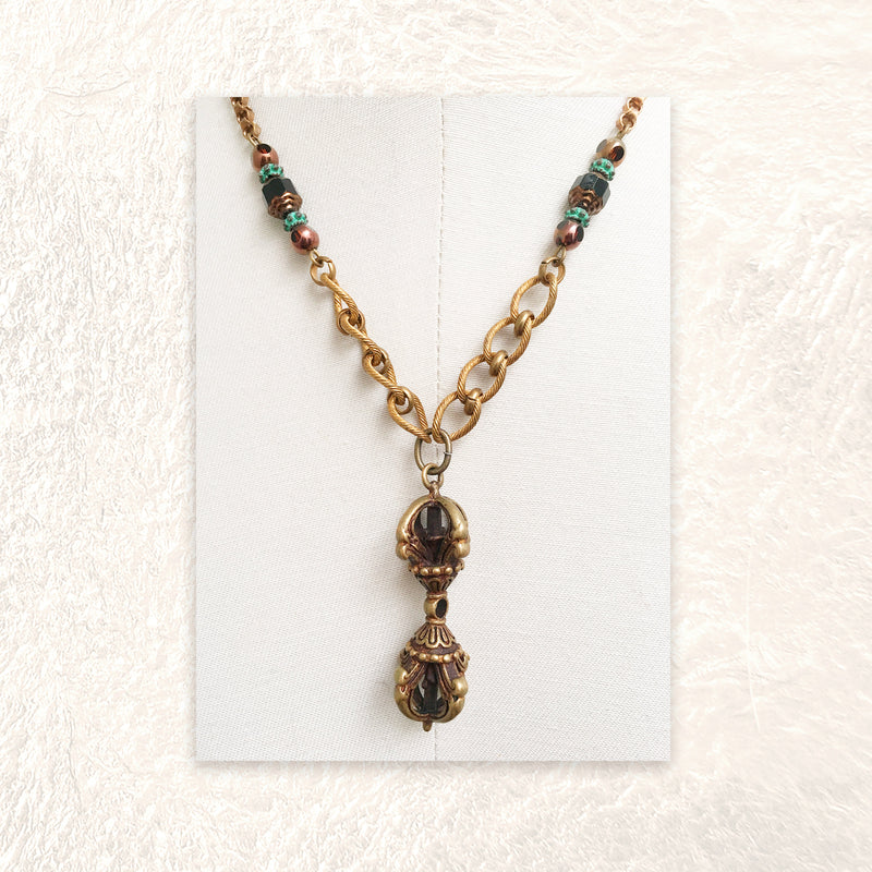 PENDANT NECKLACE : Vintage Brass