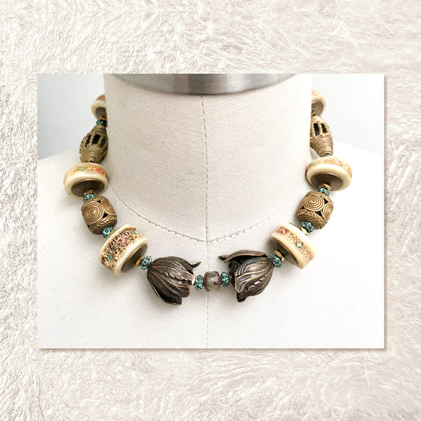 BEADED COLLAR : African Brass Filigree w/ RARE Vintage Shark Vertebrae Discs Inlaid with Turquoise & Coral