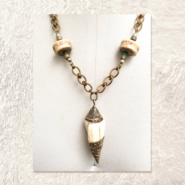 PENDANT NECKLACE : Vintage Silver Shell & Vertebrae Discs Inlaid w/ Turquoise & Coral