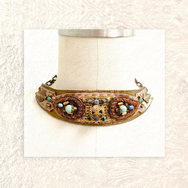 EMBELLISHED COLLAR : Zardozi Embroidery and African Brass Filigree on Taupe & Metallic Leather