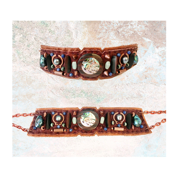 EMBELLISHED COLLAR : Abalone Inlaid Wood on Brown & Copper Leather