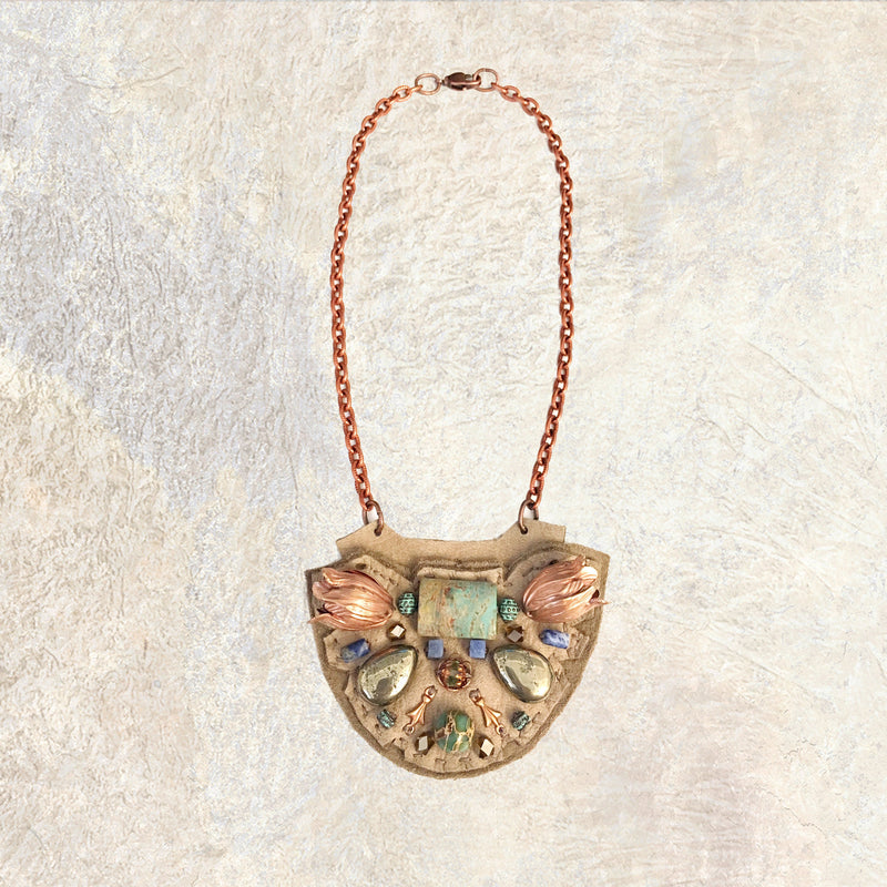 PETITE SHIELD NECKLACE : Rose Gold Tulips, African Turquoise & Sodalite on Taupe Leather
