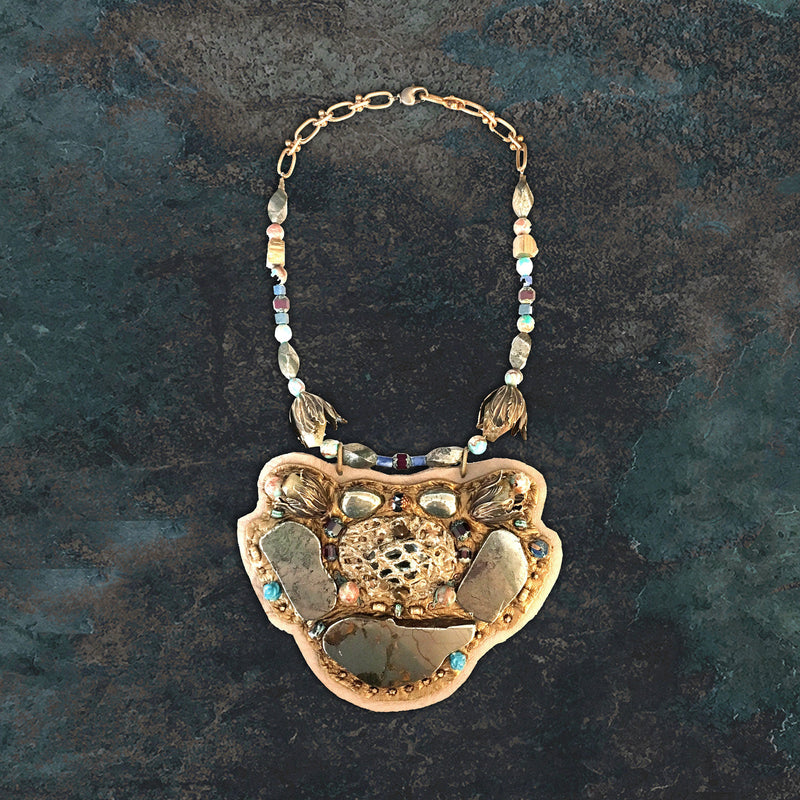 SHIELD NECKLACE : Pyrite, Jasper & Apatite on Taupe Deerskin Leather