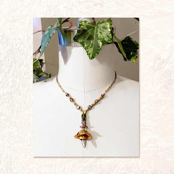 PENDANT NECKLACE : 3D Brass Rose