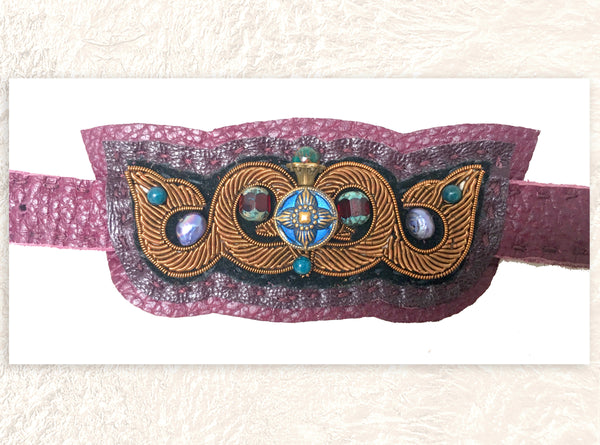 LEATHER CUFF : Metallic Zardozi Embroidery on Burgundy Leather