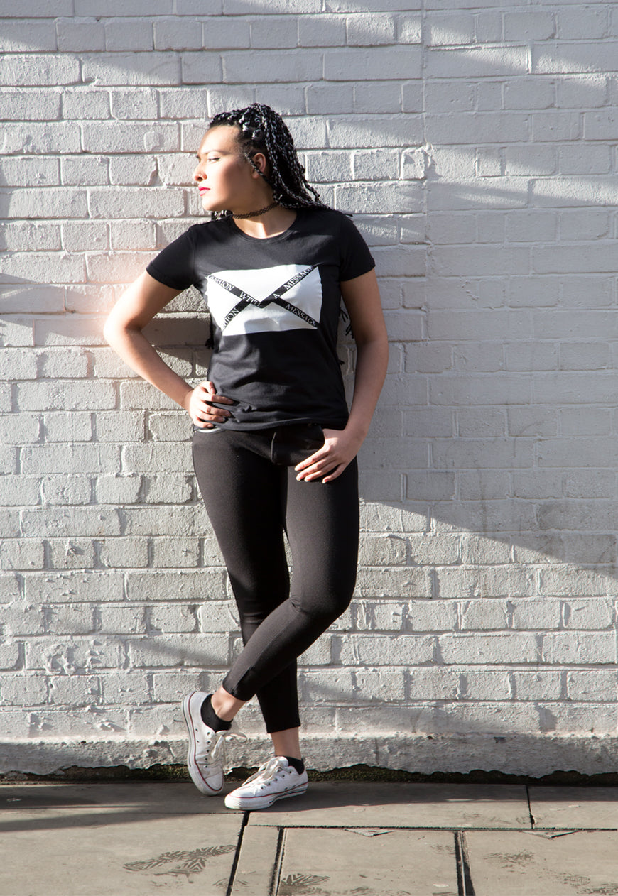 Fashion With A Message Black TEE
