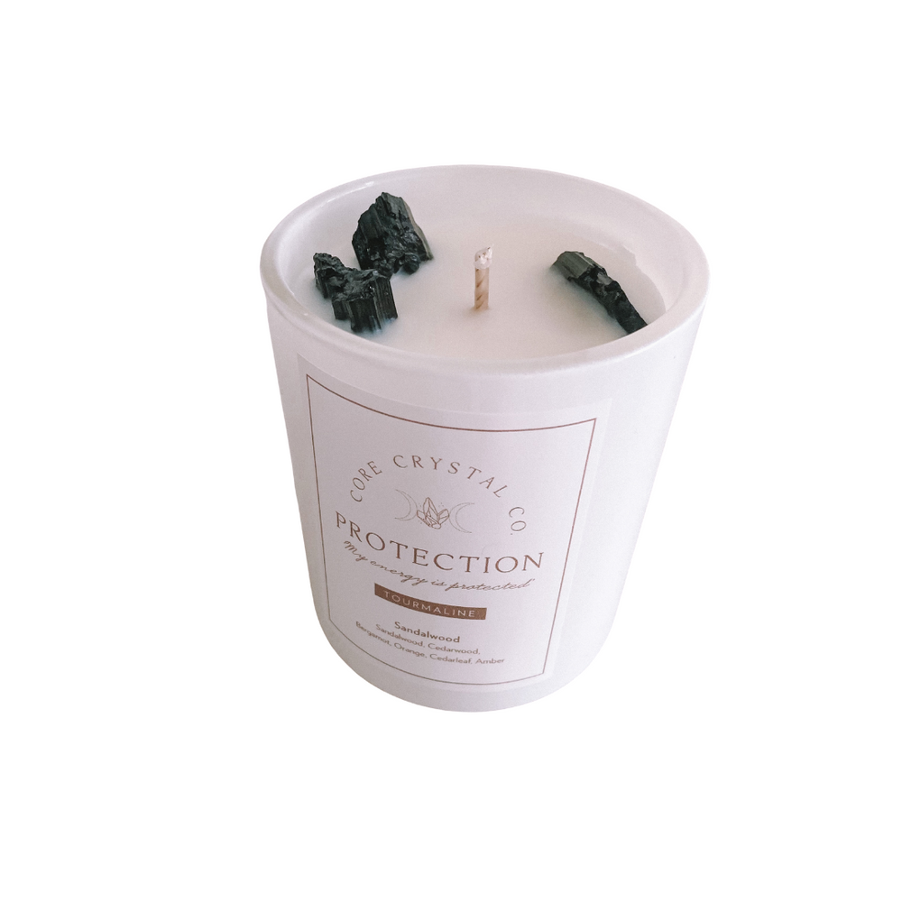 Protection Sandalwood Crystal Infused Candle