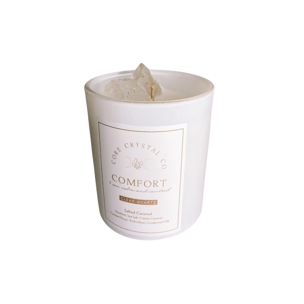Comfort Salted Caramel Crystal Infused Candle