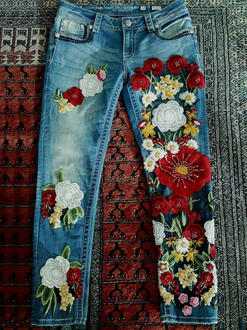 Oversized Embroidered Floral Bohemian Jeans