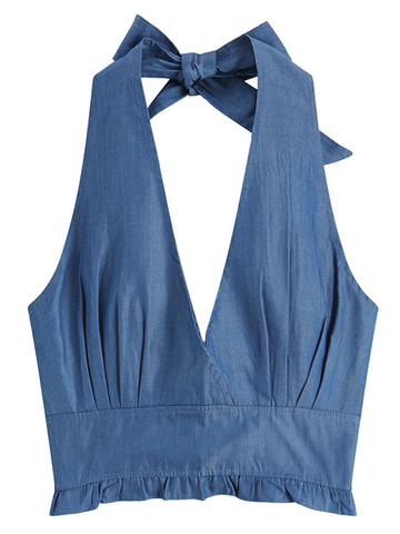 Lace-up Halter Sexy Deep V Halter Denim Camisole