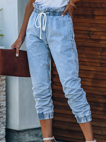 Elastic Waist Cropped Denim Jeans